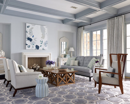Inspiration For A Beach Style Living Room Remodel In Jacksonville With Gray Walls