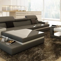 Gray Sectional Sofa with Coffee Table - Features: