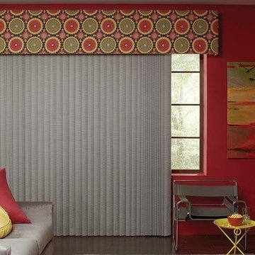 GRAY VERTICAL BLINDS - Fabric Valance Lafayette Interior Fashions