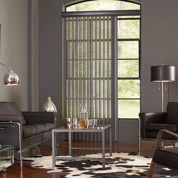 GRAY VERTICAL BLINDS - Lafayette Interior Fashions Modern Living Room Ideas