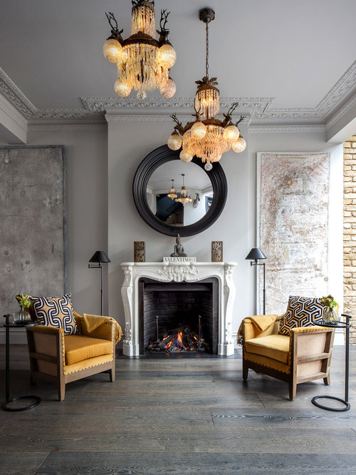Traditional Living Room In London With Grey Walls, Dark Hardwood Flooring,  A Standard Fireplace