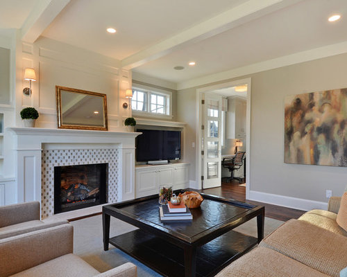 Trendy Living Room Photo In Minneapolis With Gray Walls And A Tile Fireplace Surround