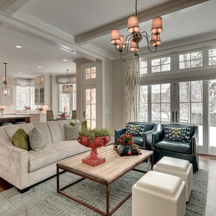 Example of a mid-sized classic open concept living room design in Minneapolis