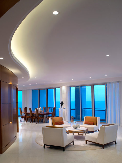 Gypsum ceiling designs houzz for Suspended ceiling designs living room