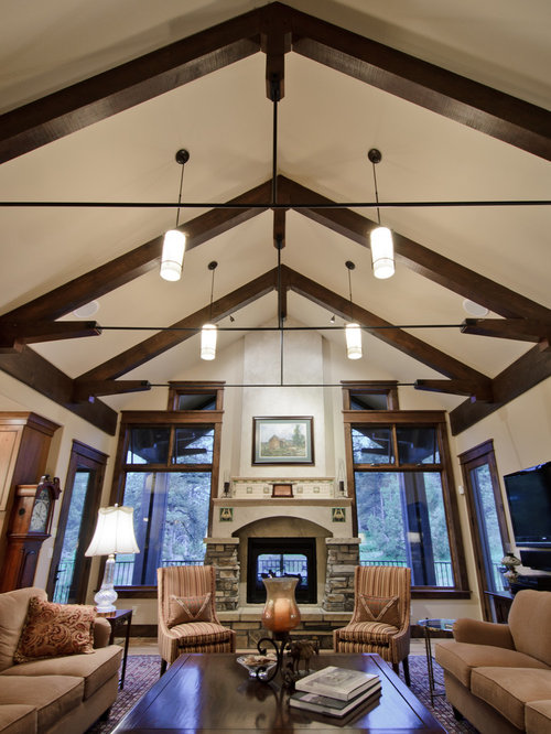living room pendant lighting. Example of a classic living room design in Denver with stone fireplace Living Room Pendant Light  Houzz