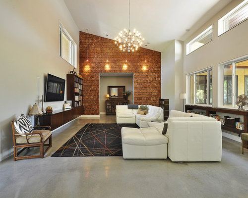 Inspiration For A Modern Living Room Remodel In Austin With Beige Walls And Wall