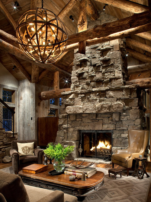 Rustic living room idea in Atlanta with a stone fireplace surroundGreat Room Fireplace   Houzz of Great Room With Fireplace