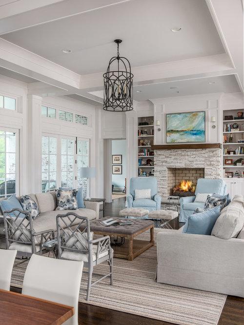 landhausstil wohnzimmer ideen design bilder houzz. Black Bedroom Furniture Sets. Home Design Ideas