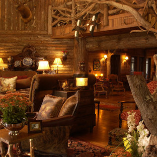 Inspiration for a rustic living room remodel in Minneapolis