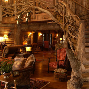 Example of a mountain style living room design in Minneapolis