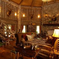 Rustic Living Room by Gabberts Design Studio