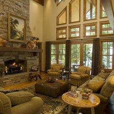 Rustic Living Room by Gabberts Design Studio