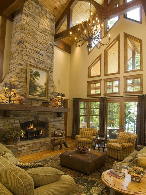 Rustic Yellow Living Room Design Ideas Renovations Amp Photos
