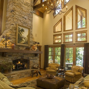 Photo of a rustic living room in Minneapolis.