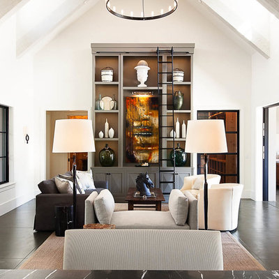 Inspiration for a farmhouse formal living room remodel in San Francisco with white walls, a standard fireplace and a stone fireplace