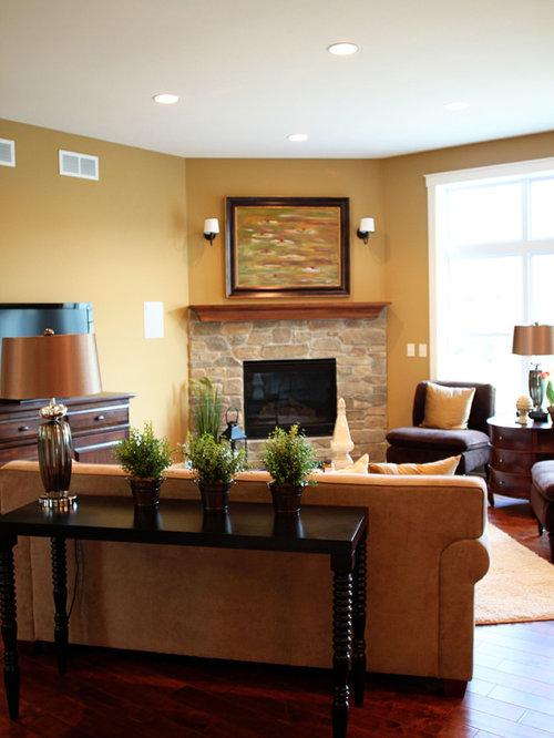 Brick Corner Fireplace