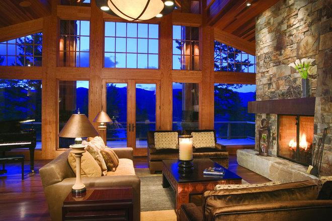 Rustic Living Room by Karlene Hunter Baum, Allied ASID