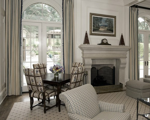 Elegant Living Room Photo In Atlanta With White Walls And A Standard Fireplace