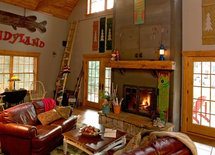 What is the material used on the fireplace?