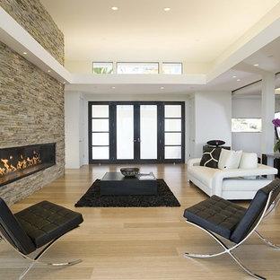 Immagine di un soggiorno minimalista con camino lineare Ribbon, cornice del camino in pietra e pavimento in bambù