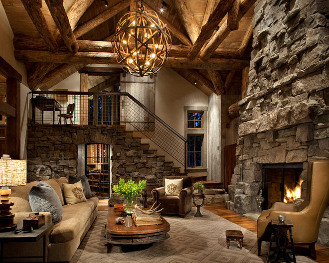 Rustic Living Room by Peace Design