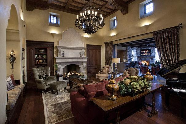Mediterranean Living Room by R.J. Gurley Custom Homes