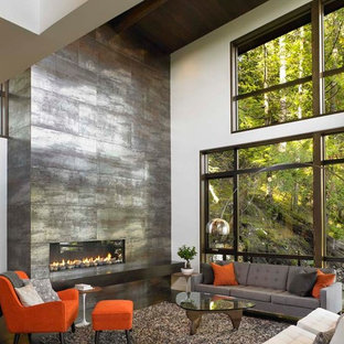 Great Room with Floor to Ceiling Fireplace