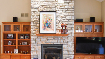 Great room with stone fireplace to ceiling