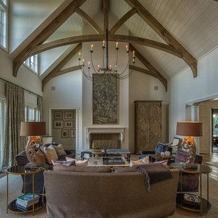 Idée de décoration pour un salon chalet de taille moyenne et ouvert avec un mur blanc, moquette, une cheminée standard, aucun téléviseur et une salle de réception.