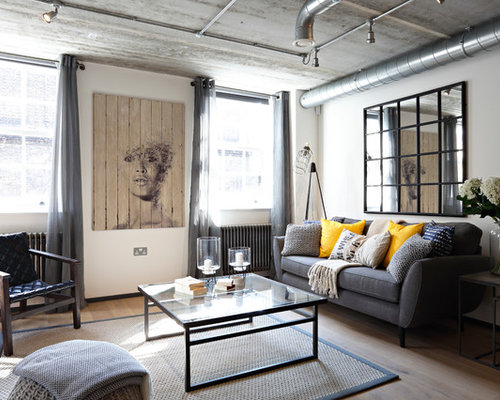 Industrial Living Room Ideas & Photos with White Walls