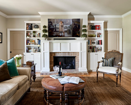 Inspiration For A Transitional Medium Tone Wood Floor And Brown Living Room Remodel In Nashville