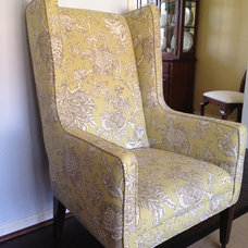 "Traditional Living Room Green toile armchair from Lee Industries; ""Cherie"" fabric in Citrus"