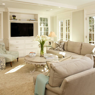 Living room - traditional living room idea in DC Metro with a wall-mounted tv