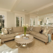 transitional living room by Harry Braswell Inc.