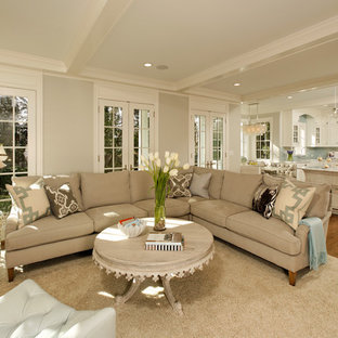 Example of a classic open concept living room design in DC Metro