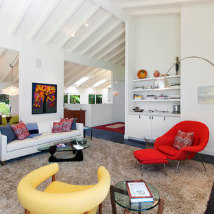 02cdbb88f07 Large trendy open concept dark wood floor and brown floor living room photo  in San Francisco