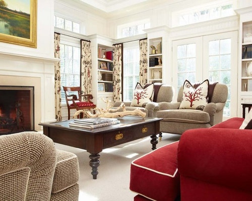 Large Traditional Open Concept Medium Tone Wood Floor Living Room Idea In  New York With White Part 14