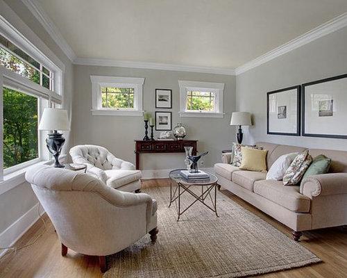 Arts and crafts grey living room design ideas renovations Arts and crafts living room ideas