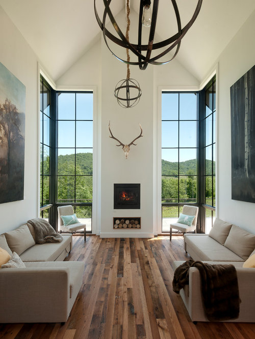 Contemporary Medium Tone Wood Floor Living Room Idea In DC Metro With White  Walls And A Part 90
