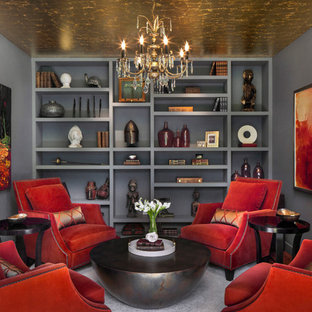 Inspiration for a contemporary formal and enclosed carpeted living room remodel in New York with gray walls and no tv