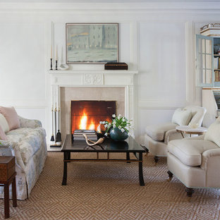 Living room - large traditional formal and open concept carpeted living room idea in New York with white walls and a standard fireplace