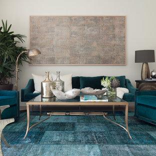 Esempio di un soggiorno design con pareti bianche