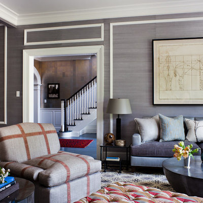 Transitional formal and enclosed blue floor living room photo in New York with gray walls