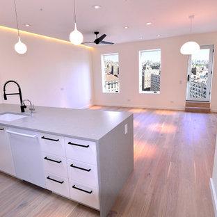 ニューヨークの中サイズのモダンスタイルのおしゃれなLDK (フォーマル、白い壁、無垢フローリング、壁掛け型テレビ、茶色い床) の写真
