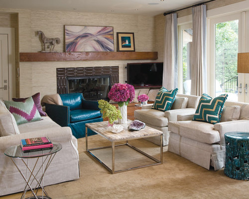 fun living room furniture. Transitional living room photo in Denver with a tile fireplace Fun Living Room  Houzz