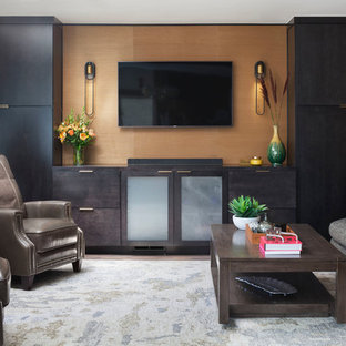 Inspiration for a contemporary living room in Denver with brown walls, dark hardwood flooring, a wall mounted tv and brown floors.