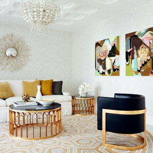 Example of a mid-sized trendy formal carpeted living room design in Perth