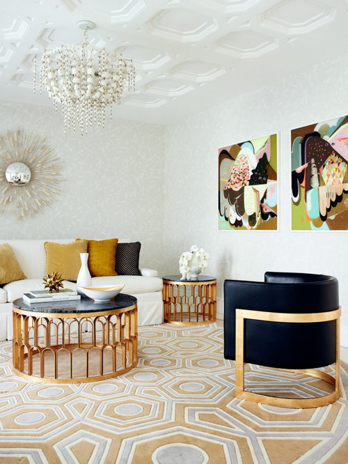 Example Of A Mid Sized Trendy Formal Carpeted Living Room Design In Perth