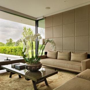 Ejemplo de salón moderno con paredes marrones