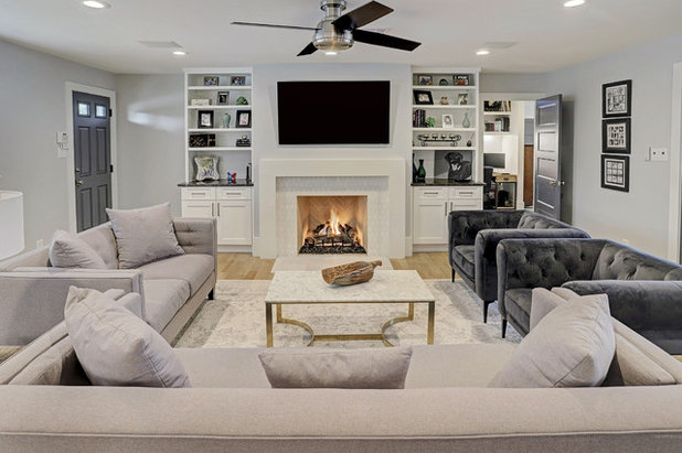 Transitional Living Room by Ashwood Designs and Custom Homes